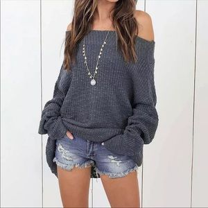 ⬇️Sexy Slouchy Off Shoulder Oversized Sweater Gray